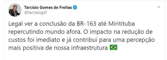 Publicação de Tarcísio Gomes de Freitas no Twitter