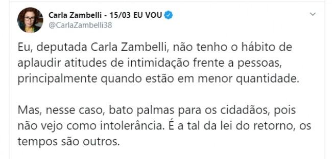 Publicação de Carla Zambelli no Twitter
