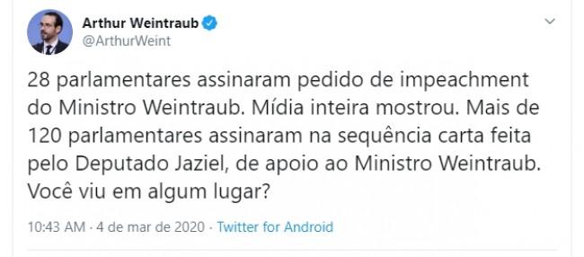 Publicação de Arthur Weintraub no Twitter