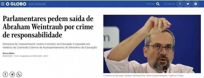 Manchete do O Globo