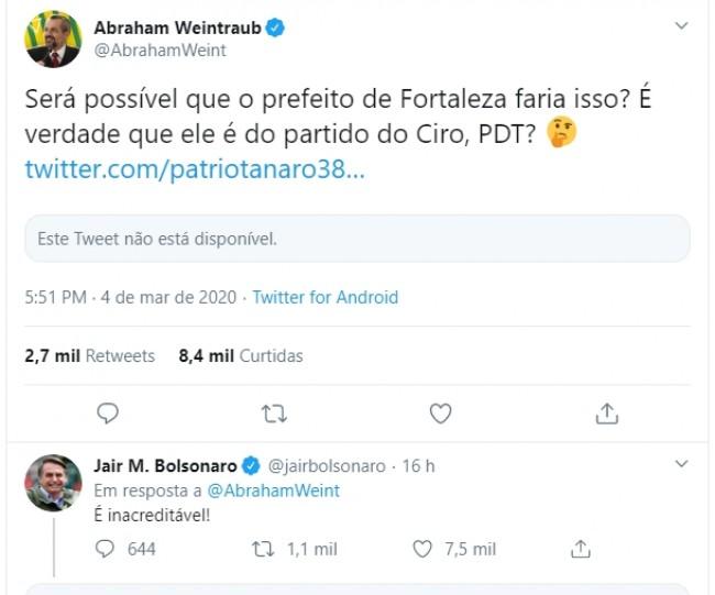 Publicação de Abraham Weintraub e Jair Bolsonaro no Twitter