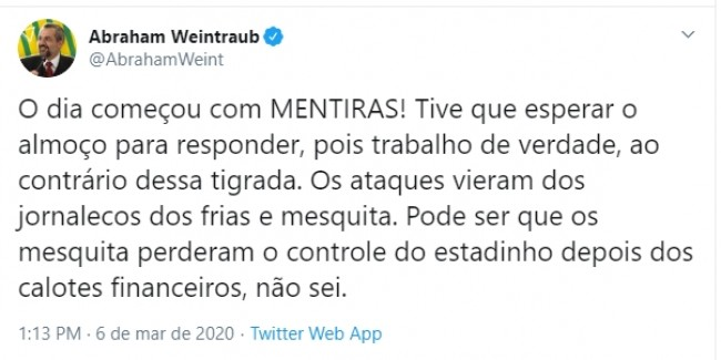 Publicação de Abraham Weintraub no Twitter