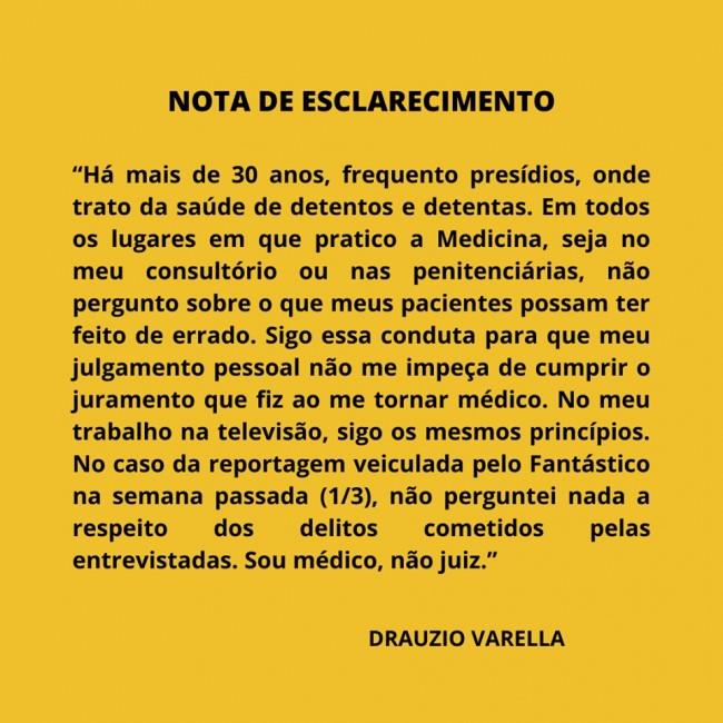 Nota de Esclarecimento de Dráuzio Varela