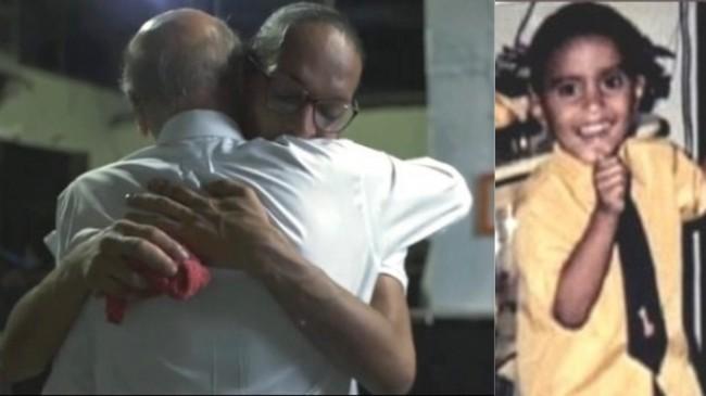 Fotomontagem: O médico abraça a criminosa. A vítima