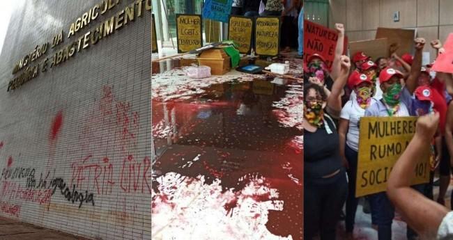 Fotomontagem: Vandalismo cometido pelo MST na sede do MAPA