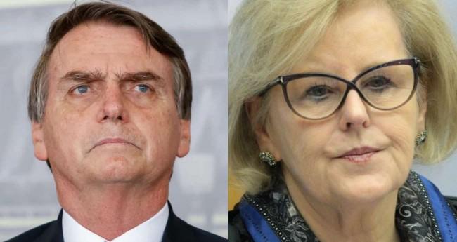Fotomontagem: Jair Bolsonaro e a presidente do TSE, Rosa Weber