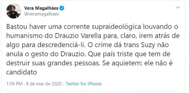 Publicação de Vera Magalhães no Twitter