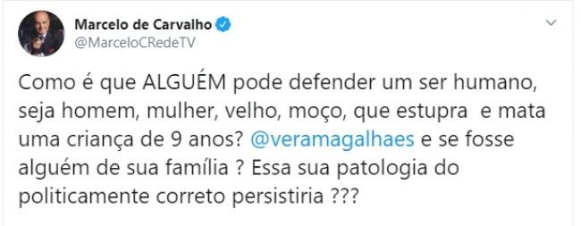 Publicação de Marcelo de Carvalho no Twitter