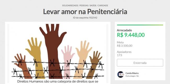 Vaquinha virtual: Levar amor a penitenciária