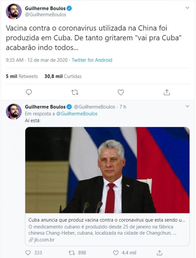 Publicação de Guilherme Boulos no Twitter