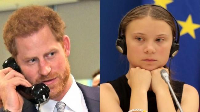 Fotomontagem: Príncipe Harry e Greta Thunberg