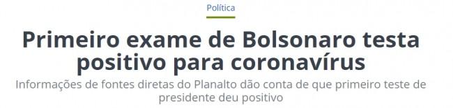 Manchete sobre Bolsonaro