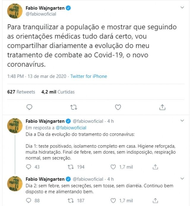 Publicações de Fábio Wajngarten no Twitter