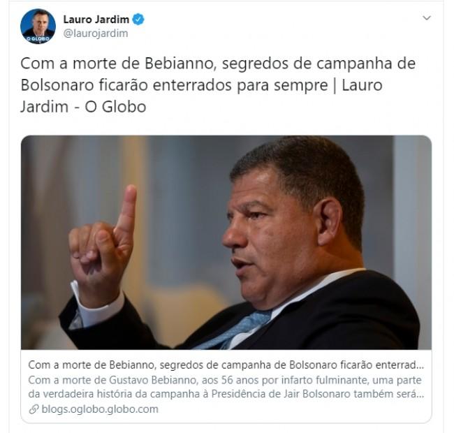 Publicação de Lauro Jardim no Twitter