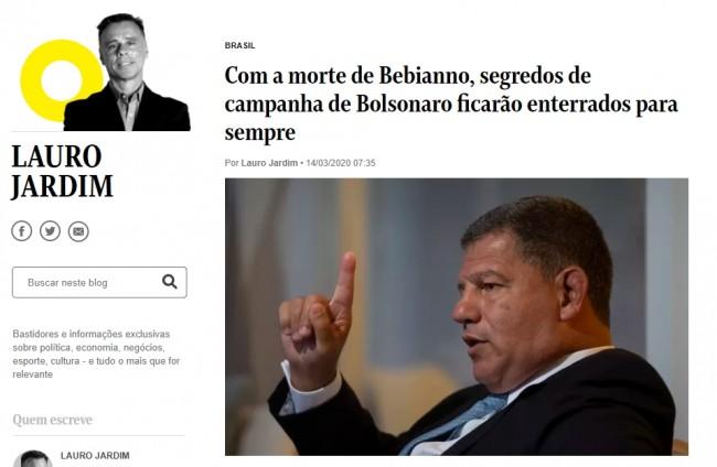 Manchete da coluna de Lauro Jardim no O Globo
