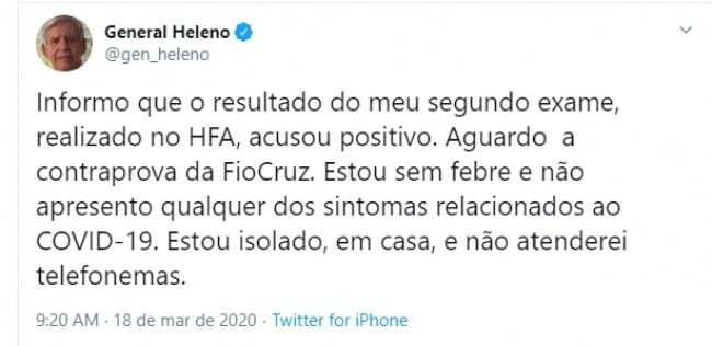 Publicação de general Augusto Heleno no Twitter