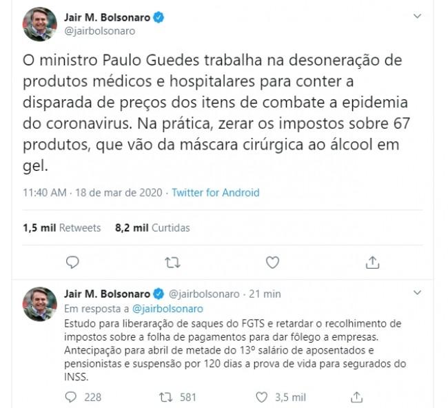 Publicações de Jair Bolsonaro no Twitter