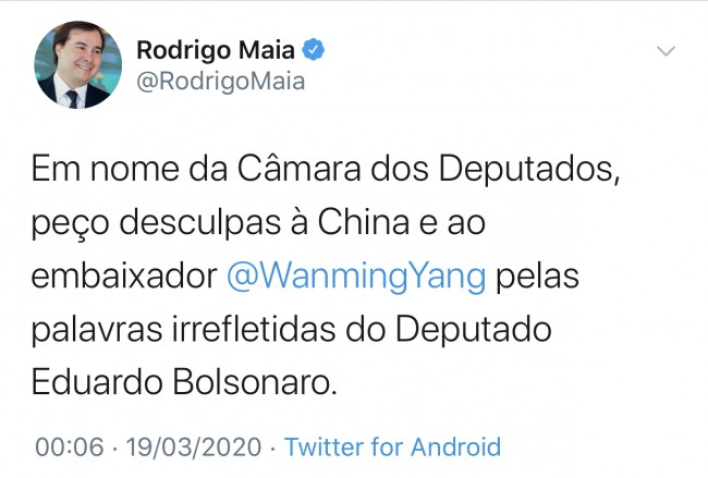 Publicação de Rodrigo Maia no Twitter