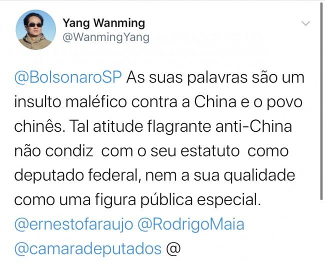 Publicação de embaixador chinês no Twitter