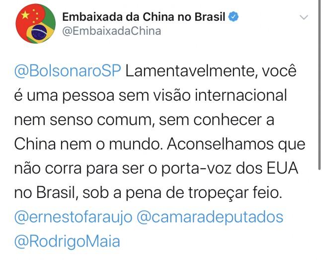 Publicação da embaixada da China no Twitter