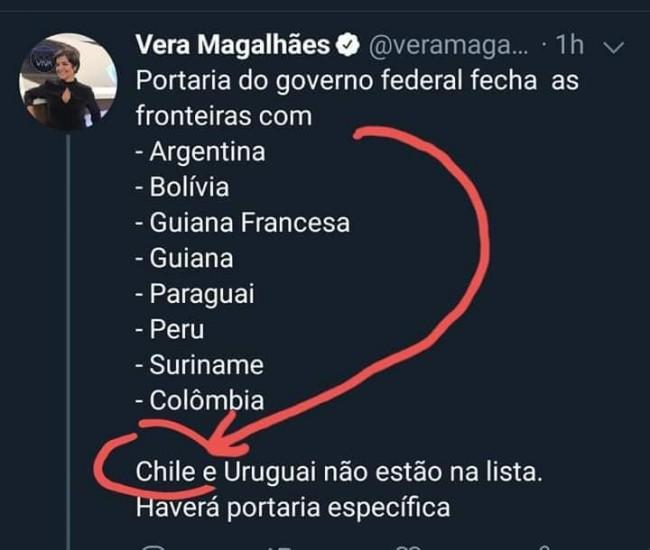 Postagem de Vera Magalhães