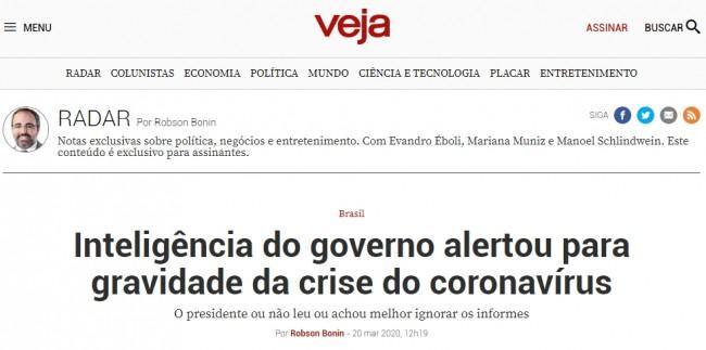 Manchete da revista Veja/Radar