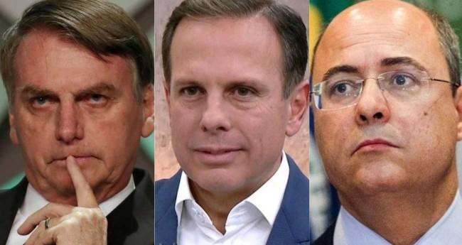 Fotomontagem: Jair Bolsonaro, João Dória e Wilson Witzel