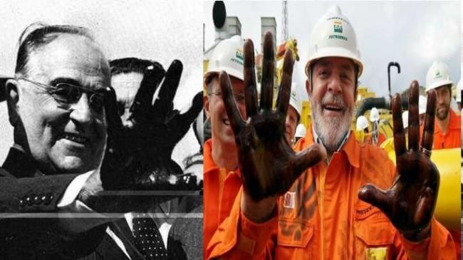 Fotomontagem: Os ex-presidentes Getúlio Vargas e Luiz Inácio Lula da Silva