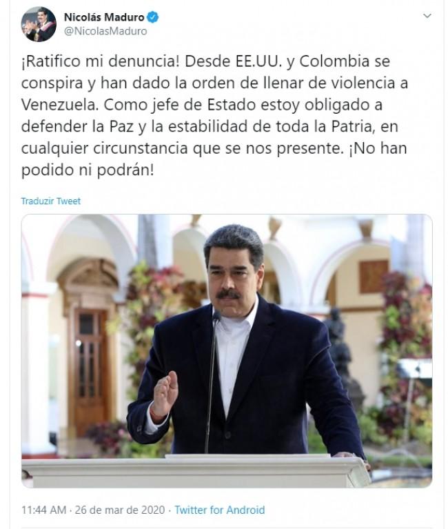Publicação de Nicolás Maduro no Twitter