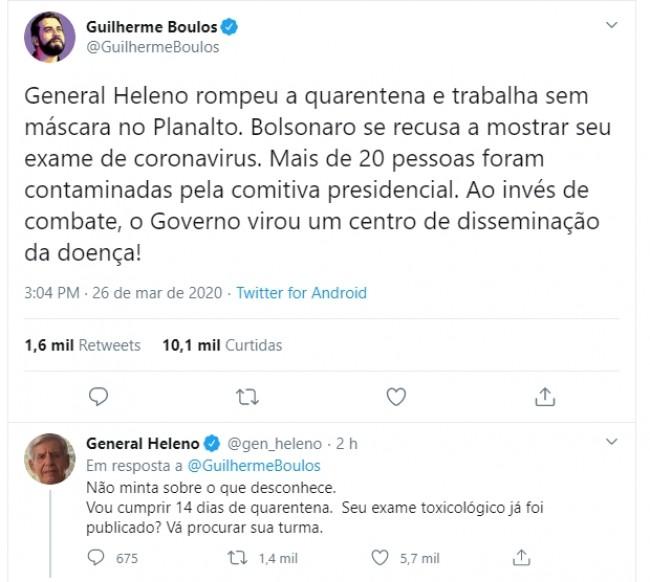 Publicação de Boulos no Twitter e resposta de Heleno