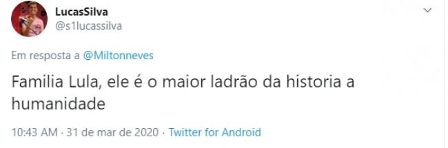 Comentário de internauta na publicação de Milton Neves