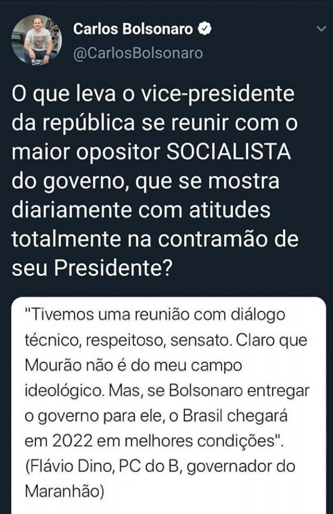 Publicação de Carlos Bolsonaro sobre o post de Flávio Dino