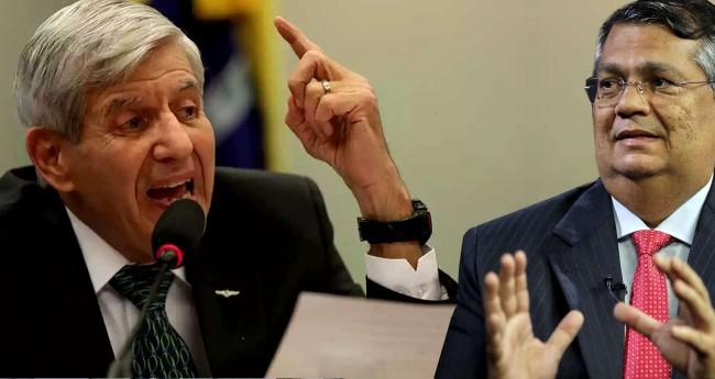 Fotomontagem: General Augusto Heleno e Flávio Dino