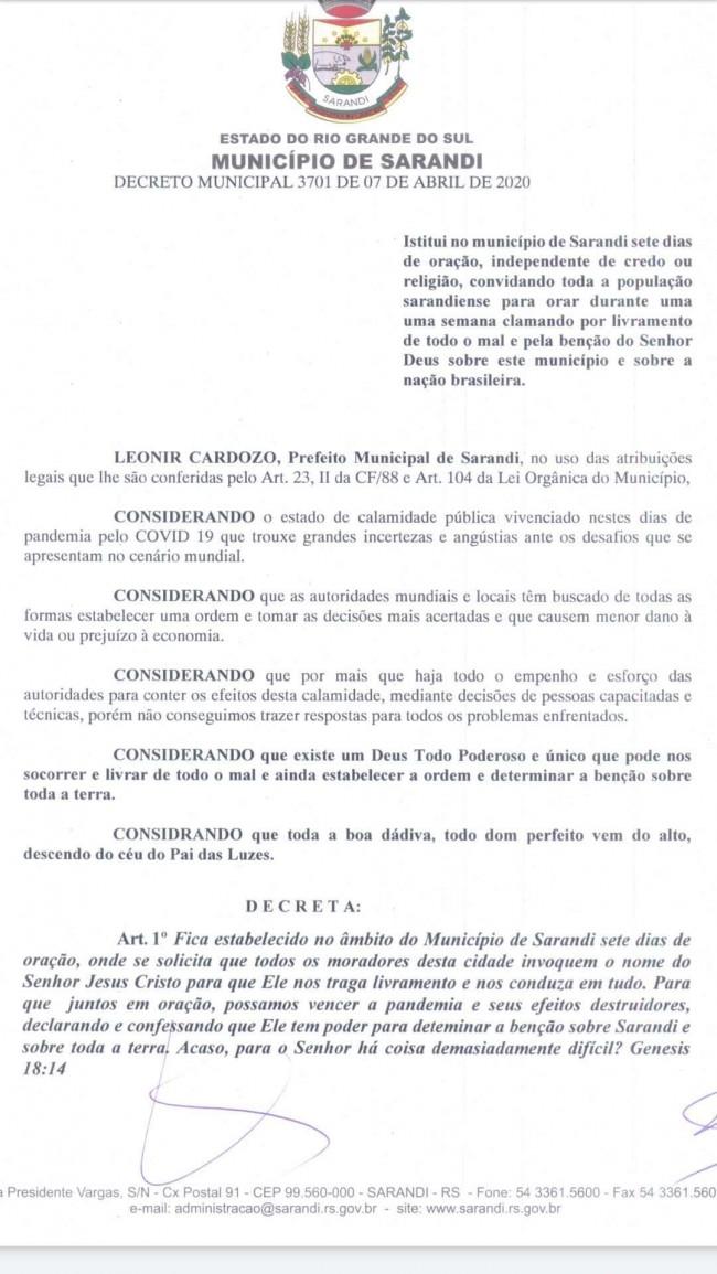 Decreto Oficial de Sarandi - RS