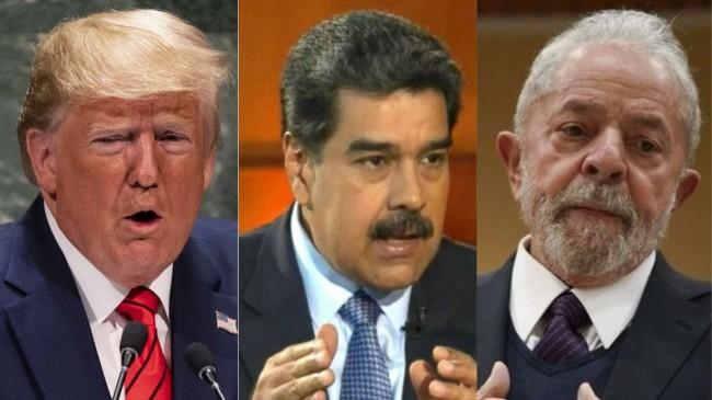 Fotomontagem: Donald Trump, Nicolas Maduro e Lula
