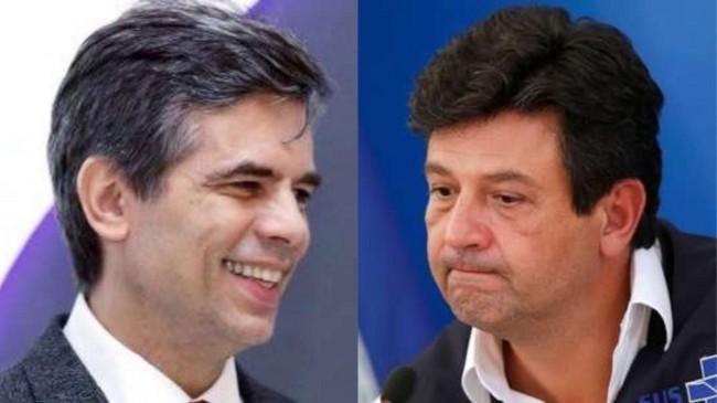 Fotomontagem: O ministro da Saúde Nelson Teich e o ex-ministro Luiz Henrique Mandetta