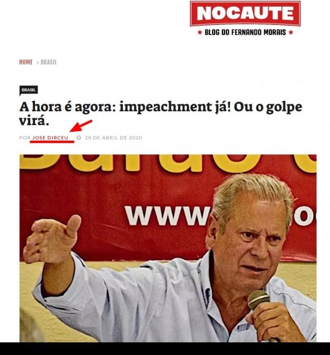 Manchete da Coluna de José Dirceu no Blog Nocaute