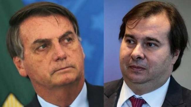 Fotomontagem: Jair Bolsonaro e Rodrigo Maia