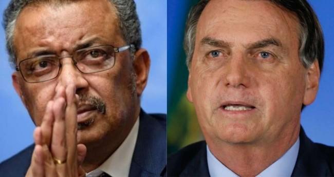 Fotomontagem: Tedros Adhanom e Jair Bolsonaro