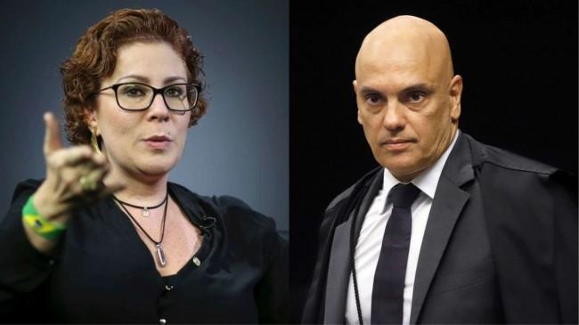 Fotomontagem: Carla Zambelli e ministro Alexandre de Moraes