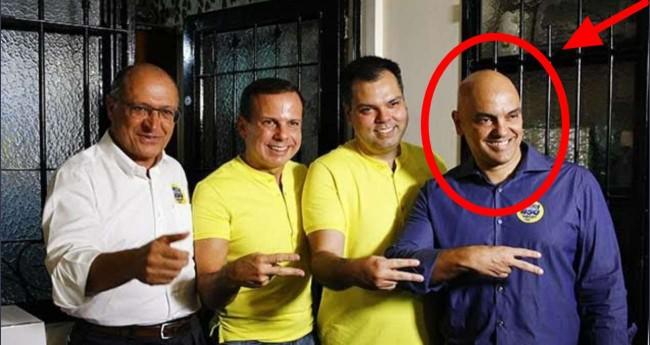 Geraldo Alckmin, João Doria, Bruno Covas e o ministro Alexandre de Moraes