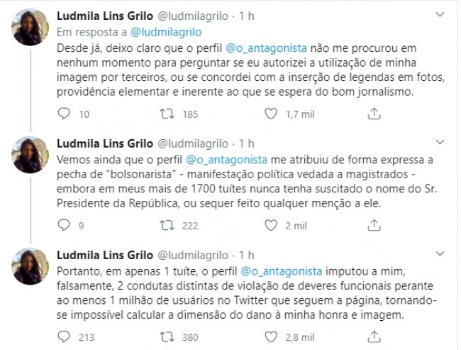 Publicações de Ludmila no Twitter