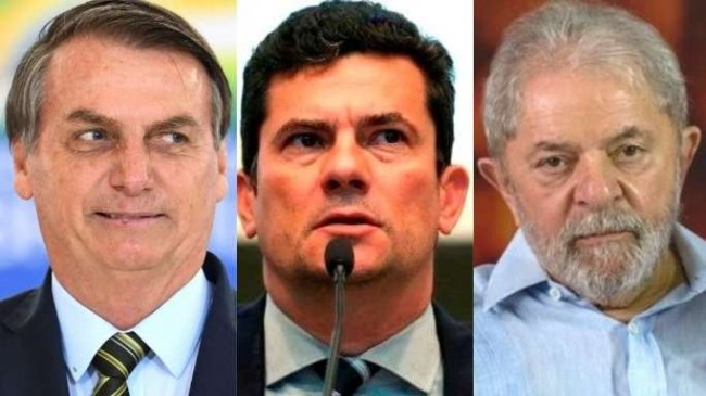 Fotomontagem: Jair Bolsonaro, Sérgio Moro e Lula da Silva