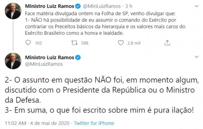 Publicações de general Ramos no Twitter