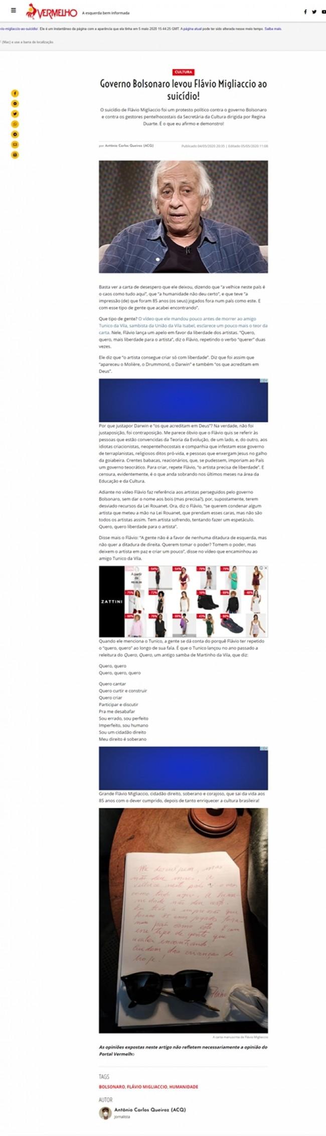 Captura de tela da matéria apagada do site vermelho.org.br