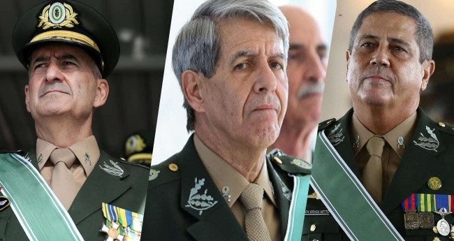 Fotomontagem: General Luiz Eduardo Ramos, General Augusto Heleno e General Braga Netto