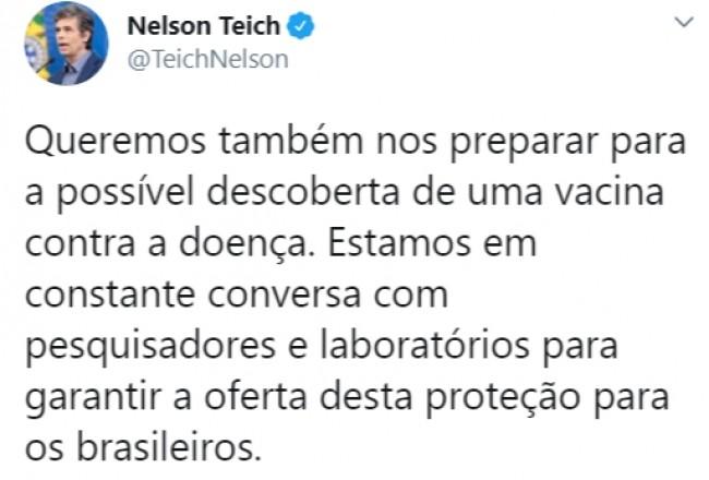 Publicação de Nelson Teich no Twitter
