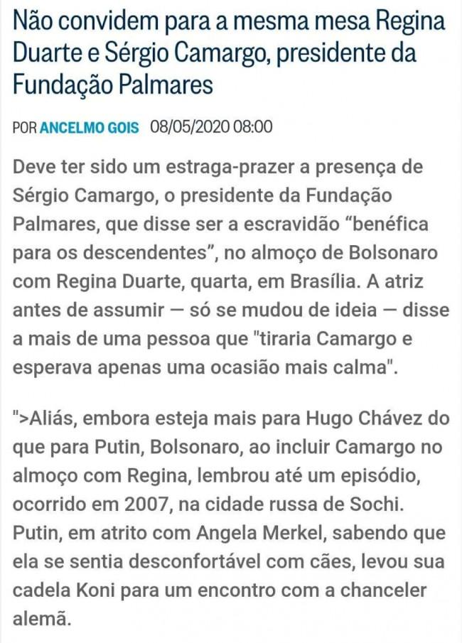 Matéria de Ancelmo Gois no Globo