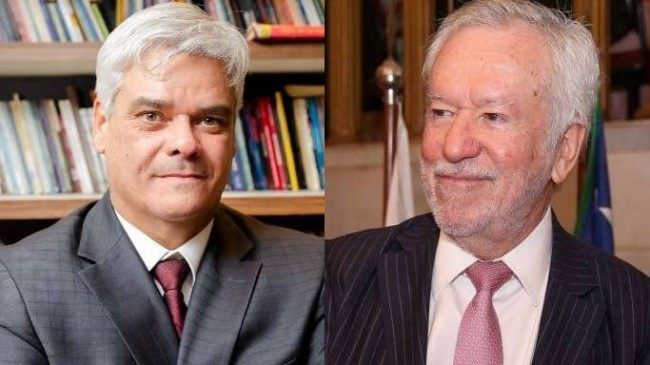 Fotomontagem: O escritor Hugo Studart e o jornalista Alexandre Garcia