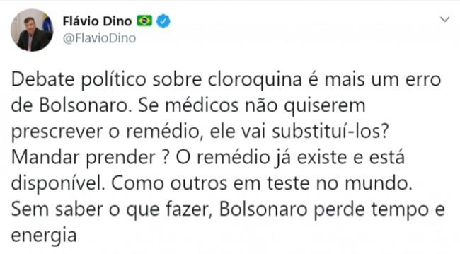 Publicação de Flávio Dino no Twitter